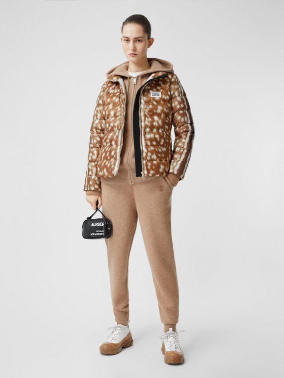 Deer Print Puffer Jacket in Honey