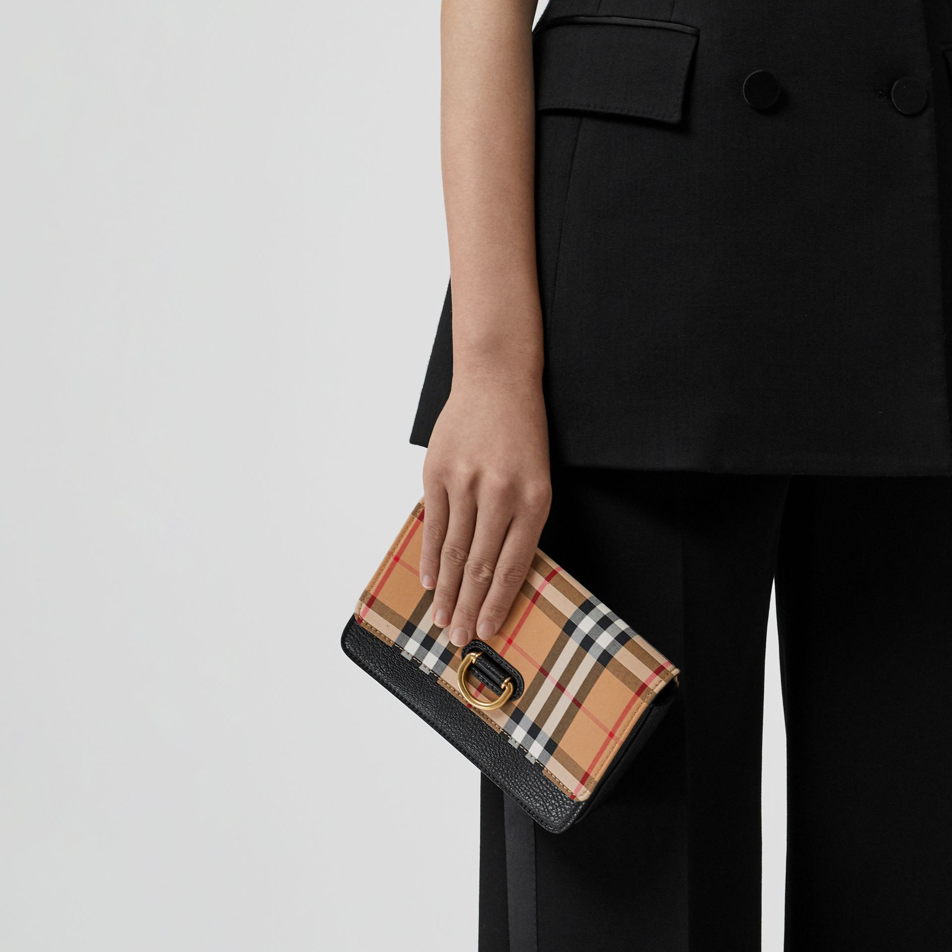 The Mini Vintage Check and Leather D-ring Bag in Black - Women | Burberry Australia - gallery image 2