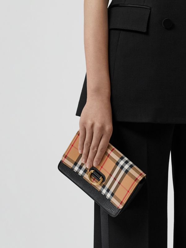 The Mini Vintage Check and Leather D-ring Bag in Black - Women | Burberry Australia - cell image 2