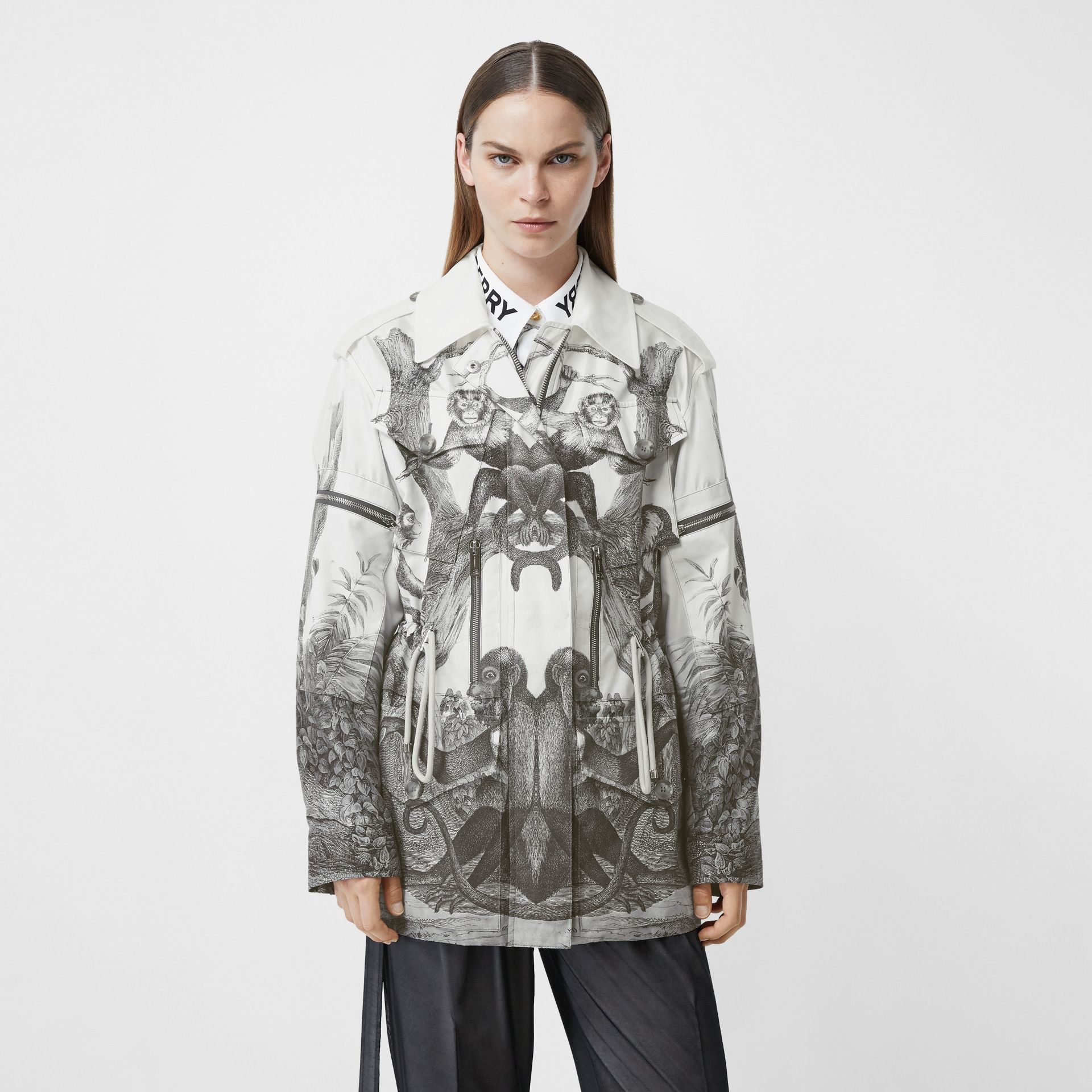 Monkey Print Silk and Cotton Gabardine Field Jacket in Monochrome - Women | Burberry - gallery image 5