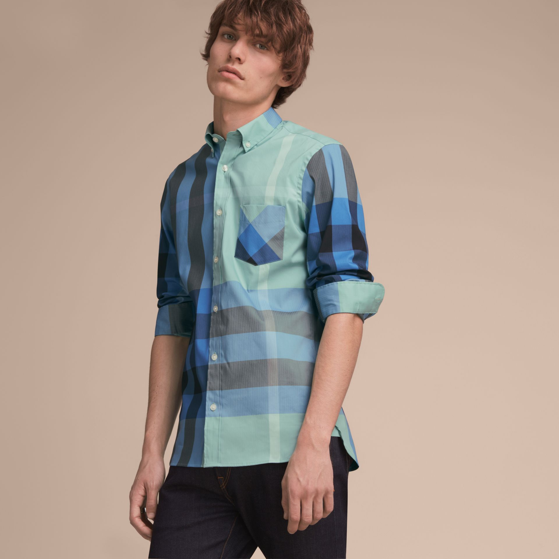 Button-down Collar Check Stretch Cotton Blend Shirt in Pale Opal - Men | Burberry - gallery image 6