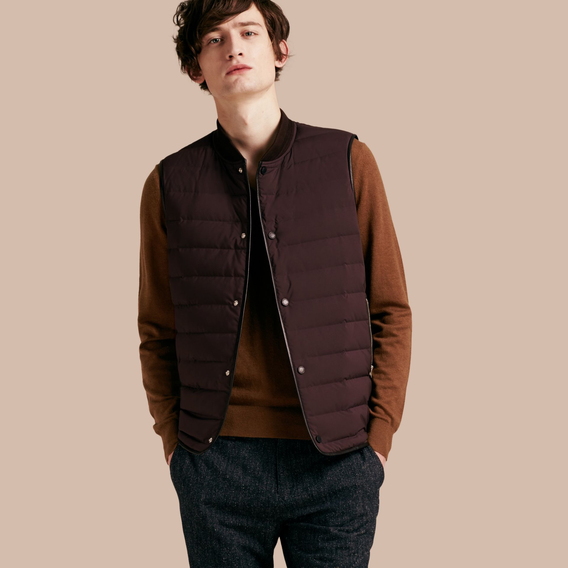 Elderberry Lambskin Trim Down-filled Gilet - gallery image 1