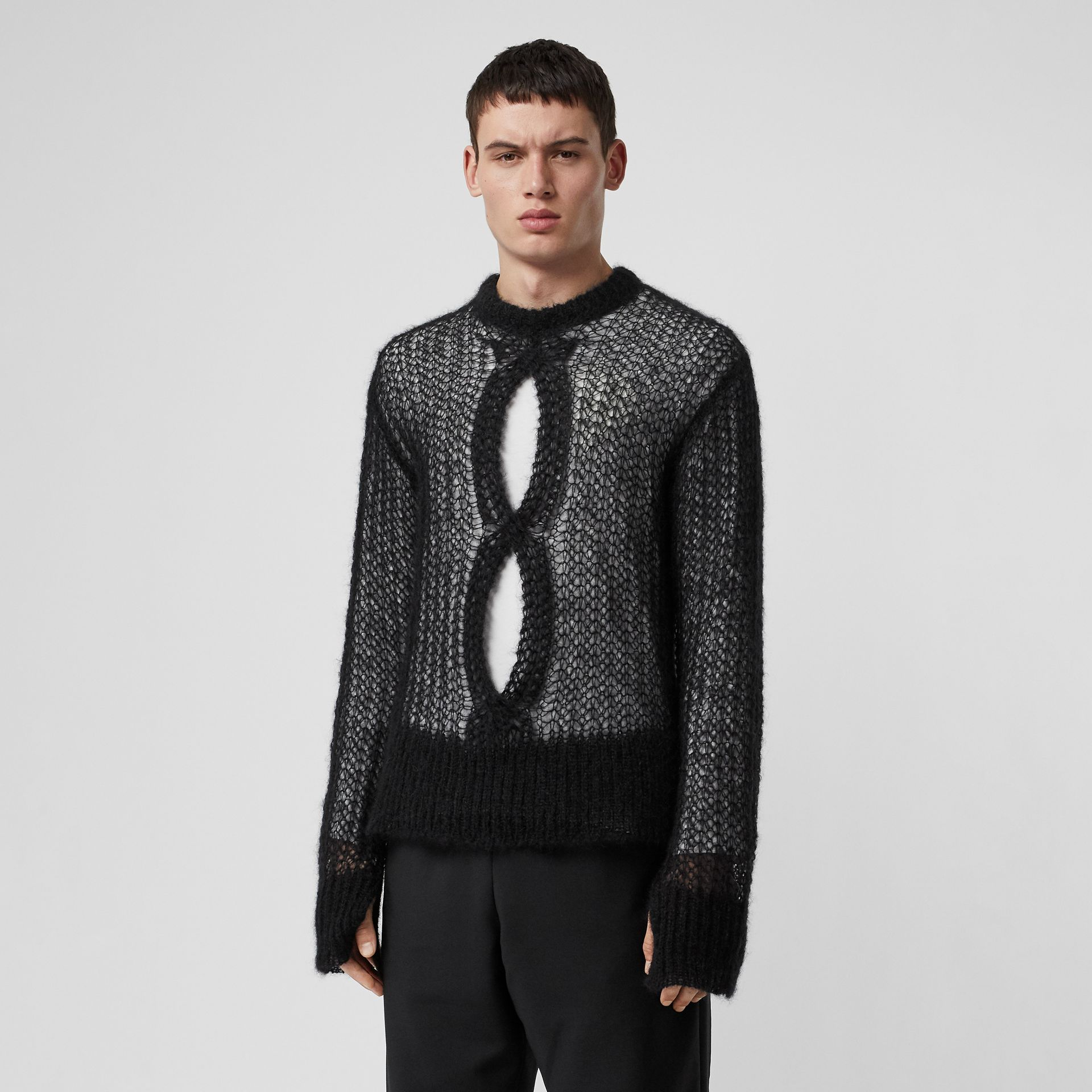Open Knit Mohair Wool Blend Sweater in Black - Men | Burberry Australia - gallery image 0
