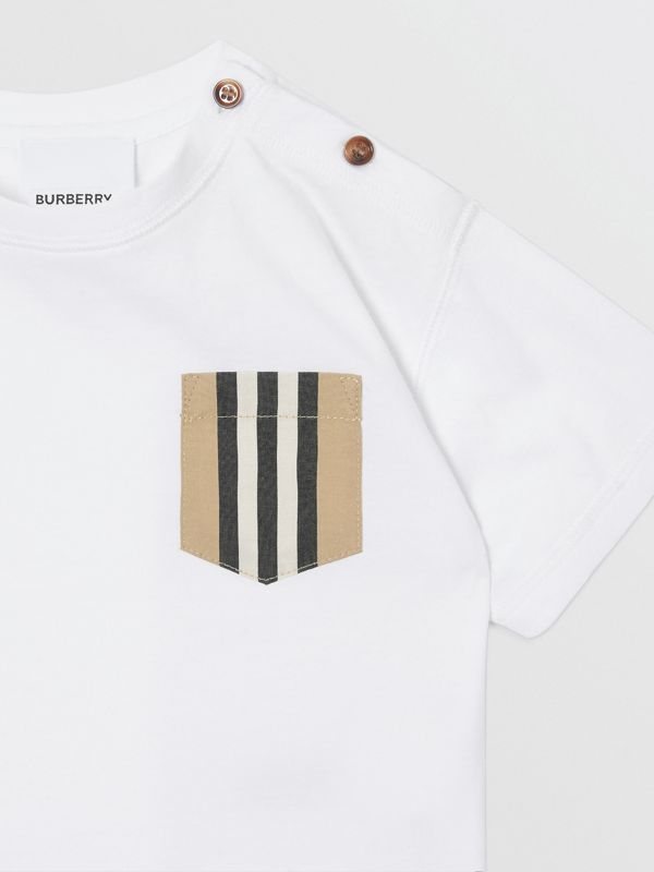 Icon Stripe Pocket Cotton T-shirt in White/archive Beige - Children | Burberry - cell image 3