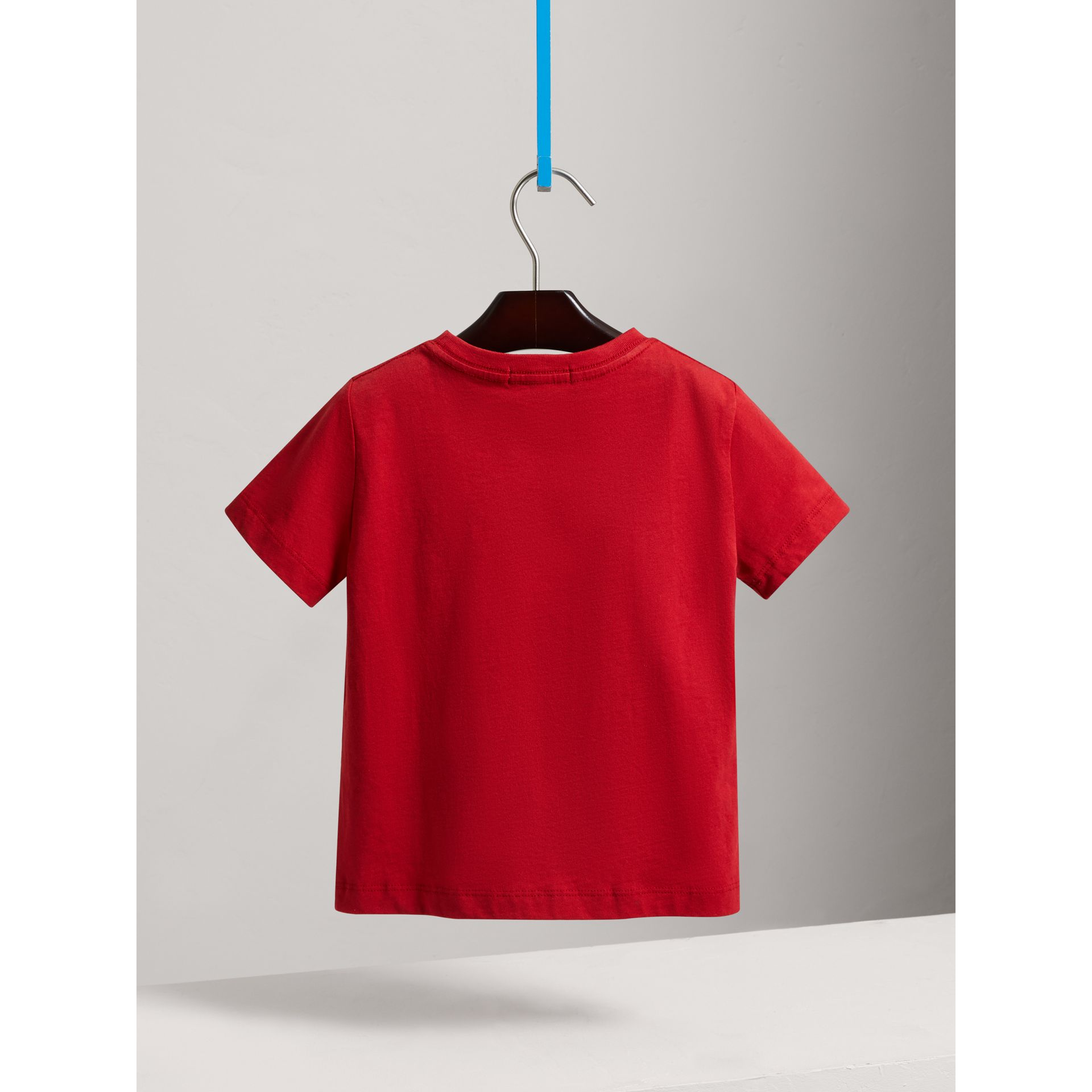Check Pocket Cotton T-shirt in Military Red - Boy | Burberry - gallery image 3