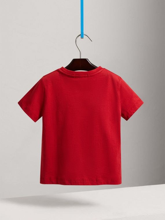 Check Pocket Cotton T-shirt in Military Red - Boy | Burberry United Kingdom - cell image 3