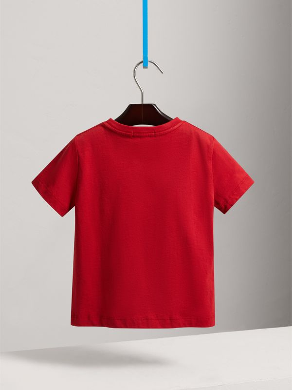 Check Pocket Cotton T-shirt in Military Red - Boy | Burberry - cell image 3