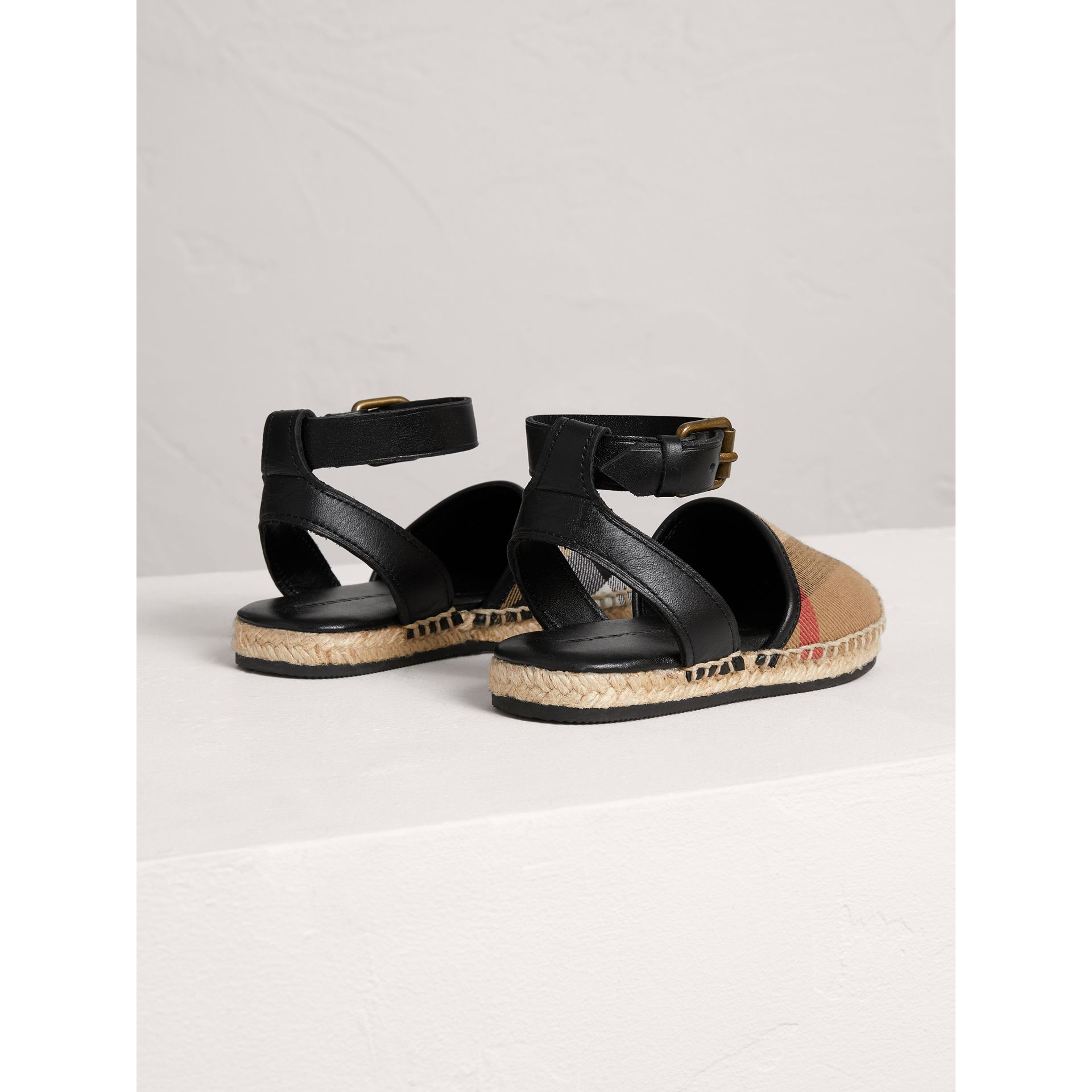House Check and Leather Espadrille Sandals in Black | Burberry - gallery image 3