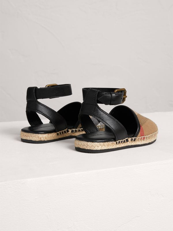 House Check and Leather Espadrille Sandals in Black - Children | Burberry United States - cell image 2