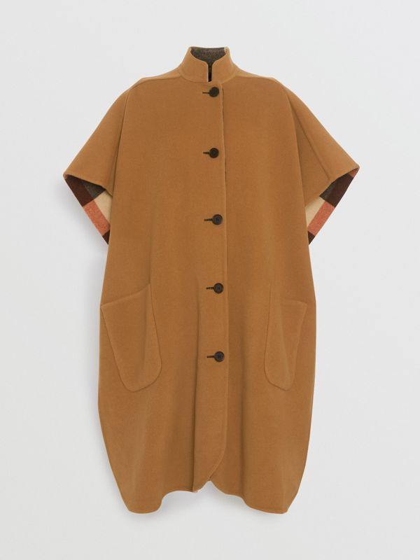 Reversible Check Oversized Poncho in Camel - Women | Burberry - cell image 3