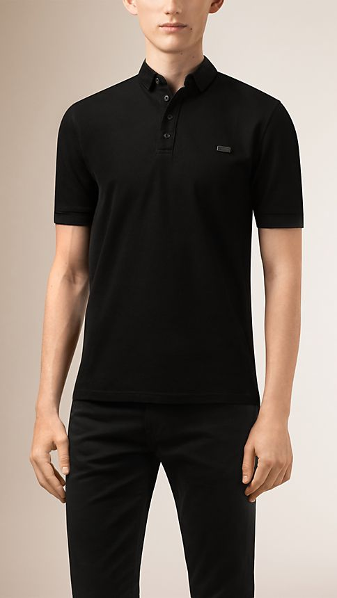 Black Double-Weave Piqué Cotton Polo Shirt - Image 1