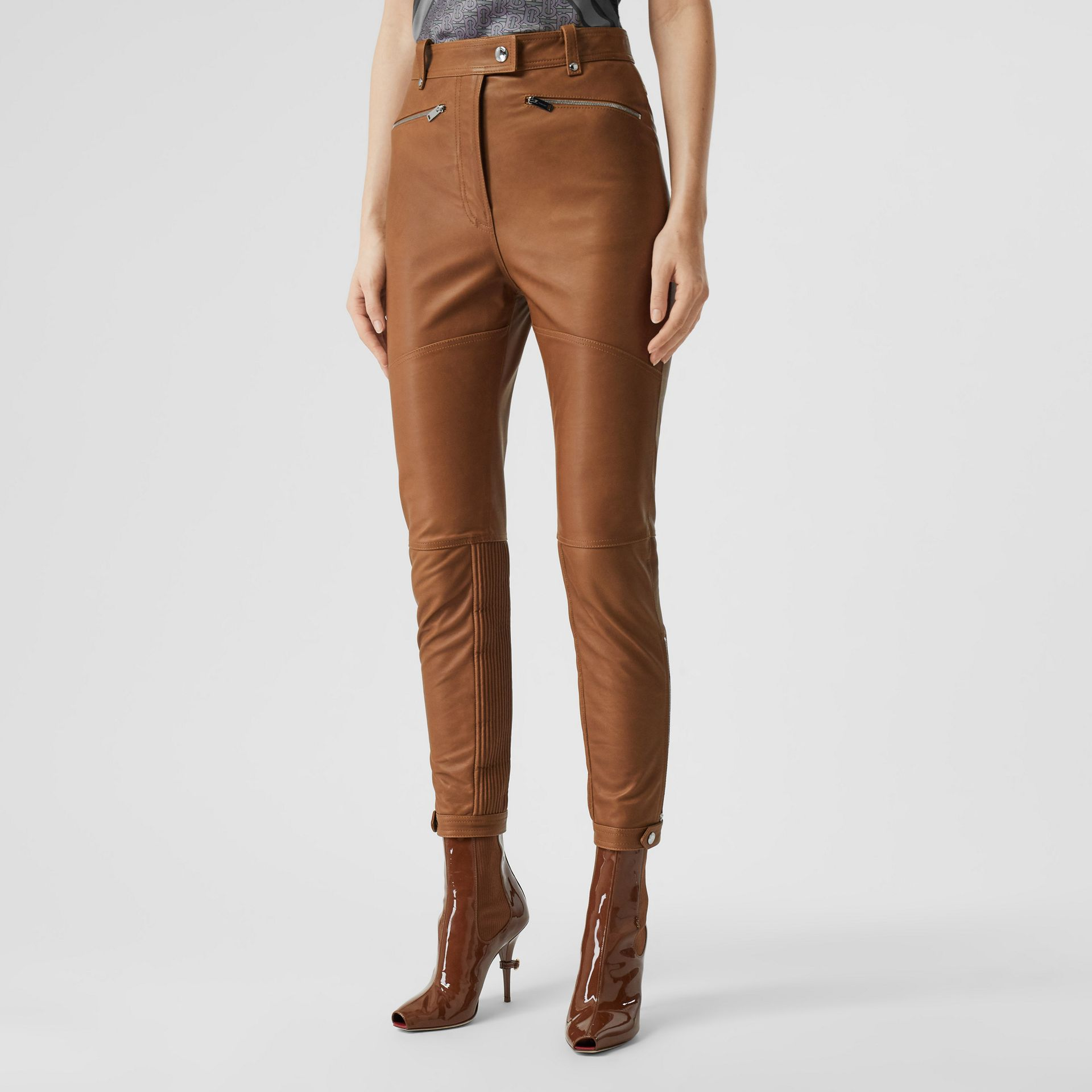 Biker Leather Trousers in Brown - Women | Burberry - gallery image 5