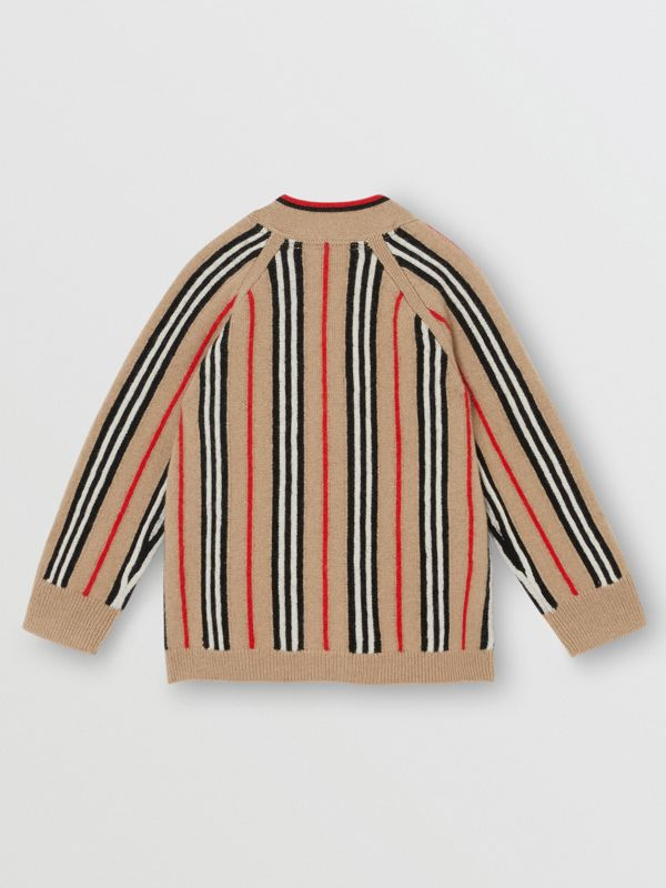 Icon Stripe Wool Cashmere Cardigan in Archive Beige - Children | Burberry - cell image 3
