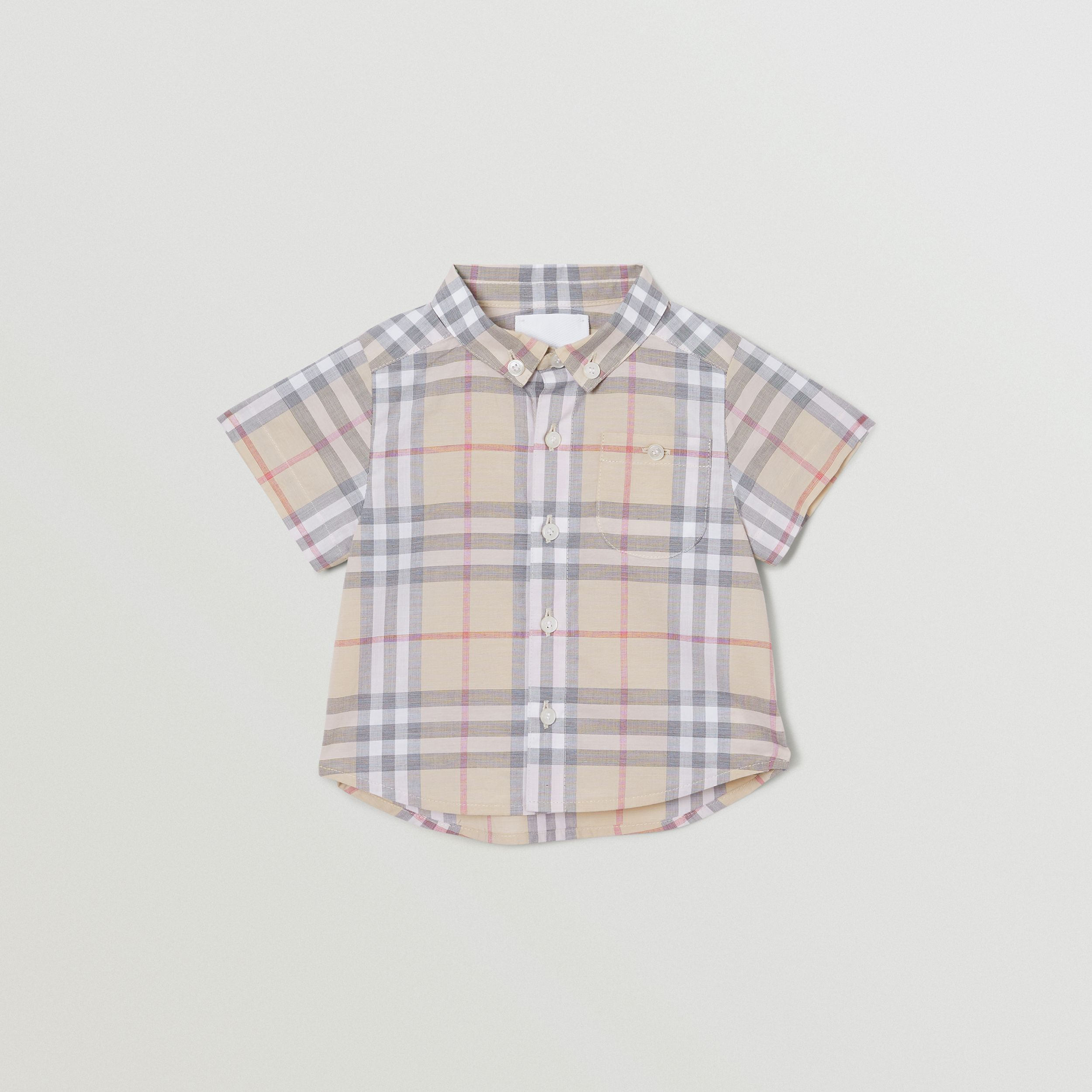 Button-down Collar Short-sleeve Check Cotton Shirt in Pale Stone - Children | Burberry United States - 1