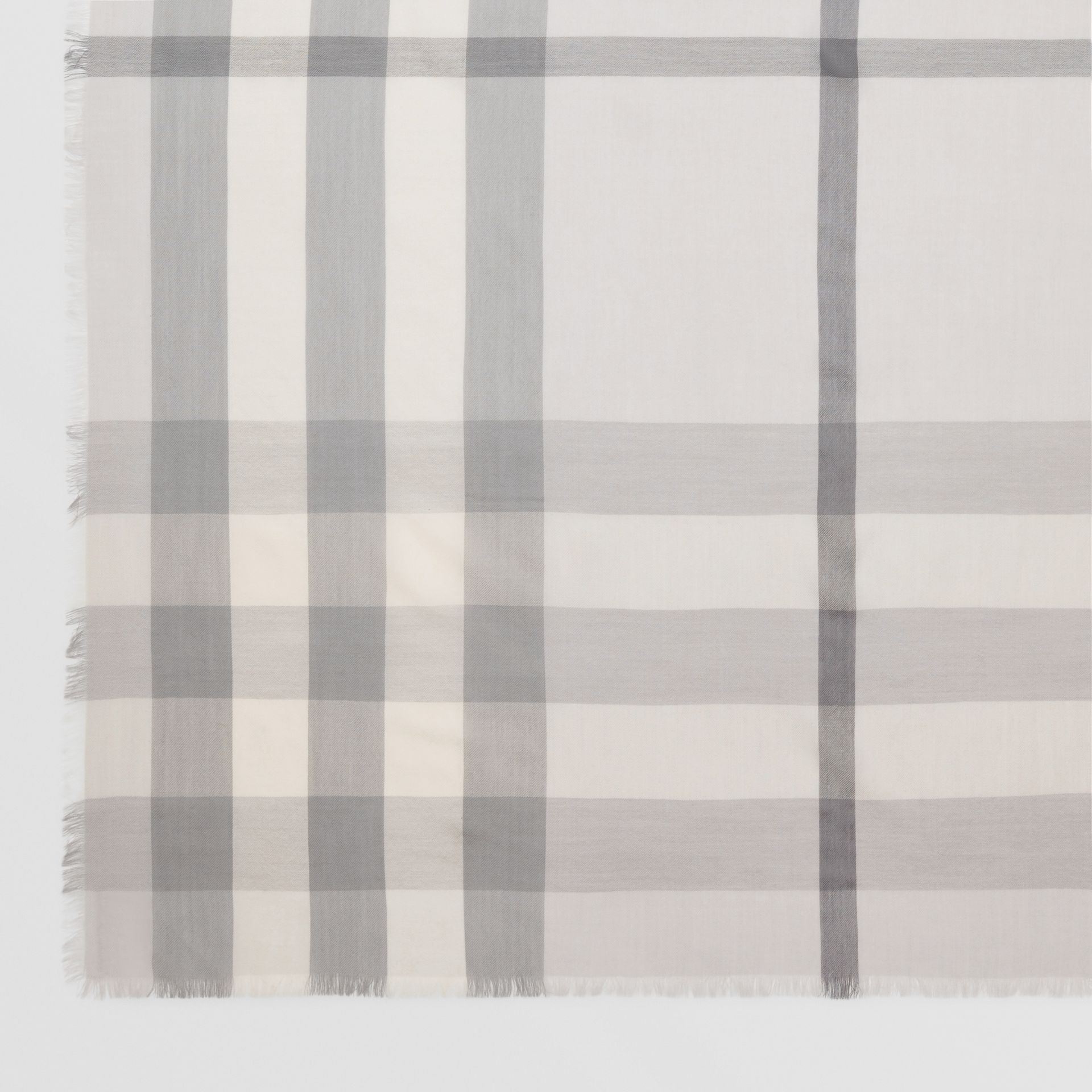 Lightweight Check Cashmere Scarf in White/light Grey | Burberry - gallery image 1