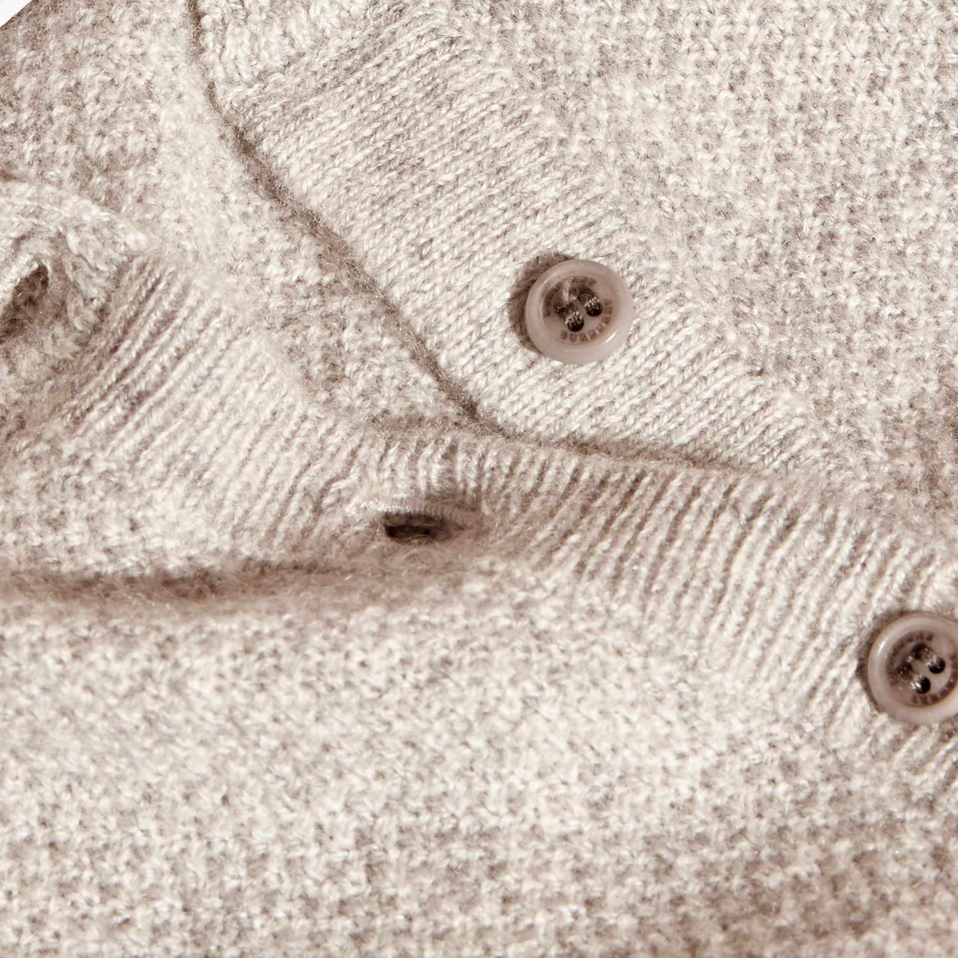 Textured Cashmere Cardigan in Light Grey Melange - gallery image 2