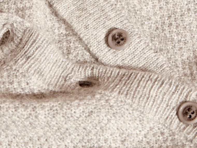 Textured Knit Cashmere Cardigan in Light Grey Melange | Burberry Australia - cell image 1