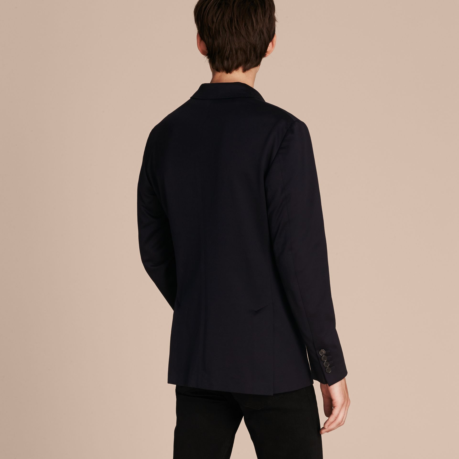 Navy Slim Fit Tailored Cotton Jersey Jacket Navy - gallery image 3