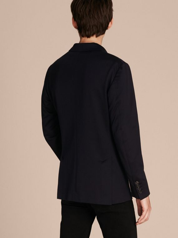 Navy Slim Fit Tailored Cotton Jersey Jacket Navy - cell image 2