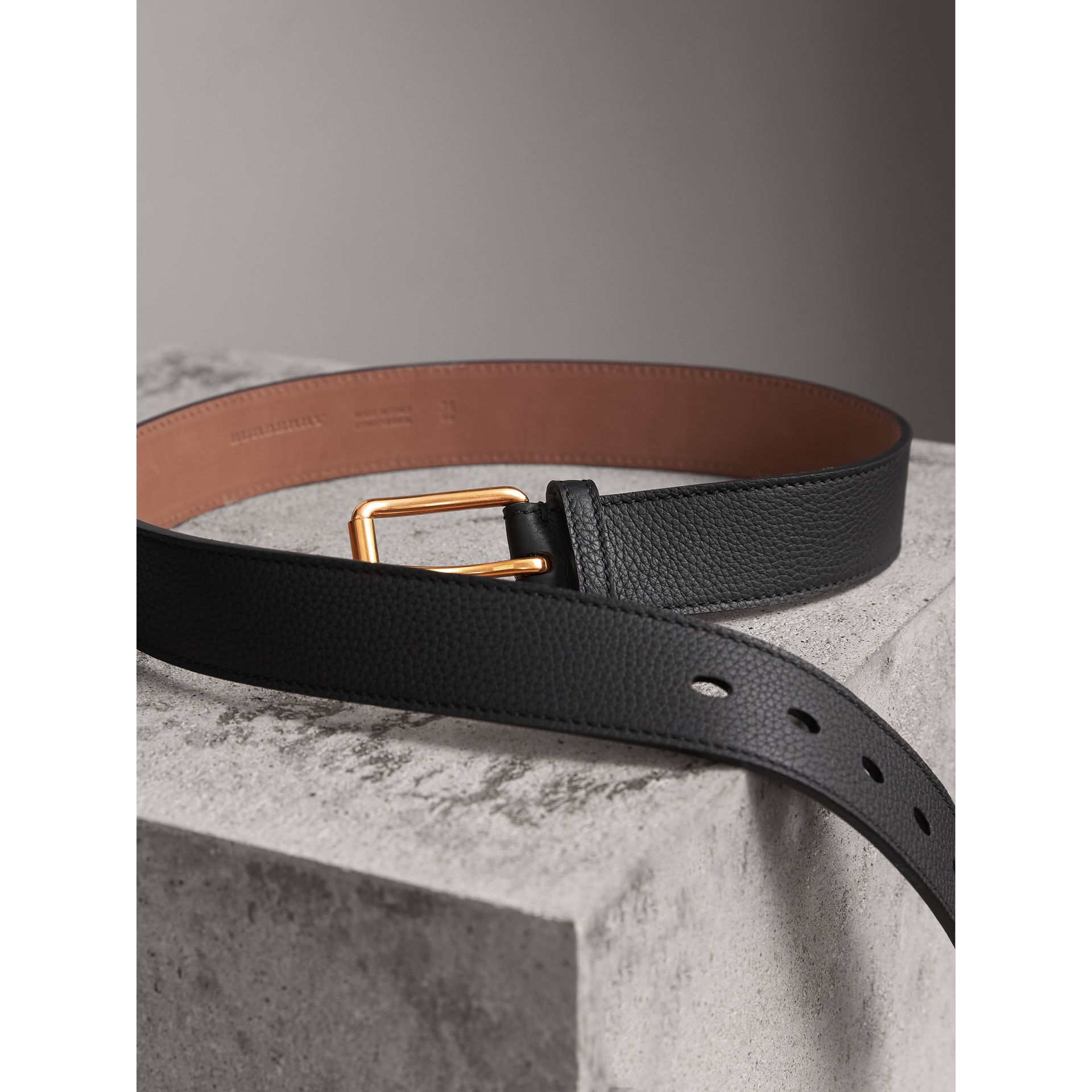 Grainy Leather Belt in Black - Men | Burberry Australia - gallery image 4