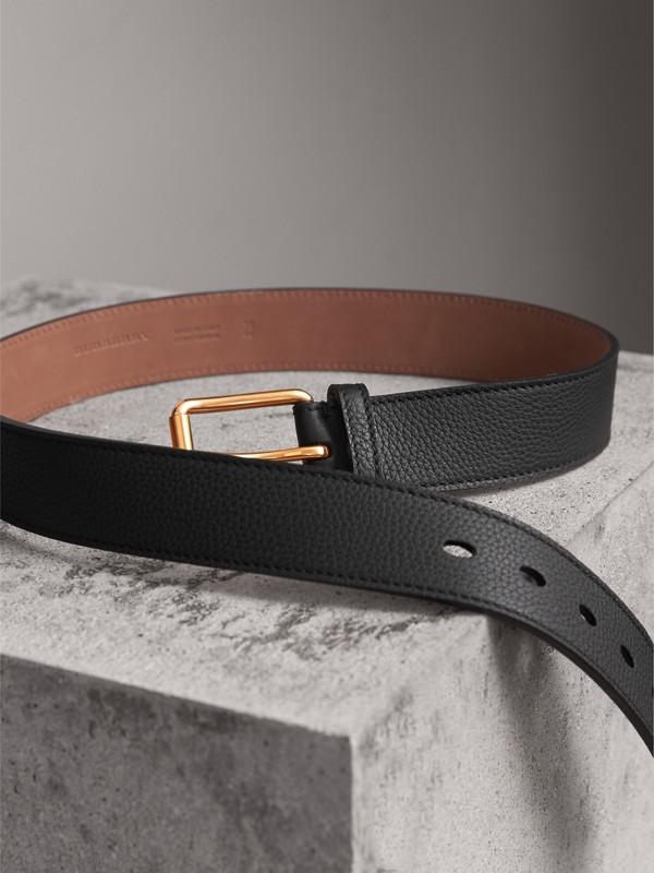 Grainy Leather Belt in Black - Men | Burberry United Kingdom - cell image 3