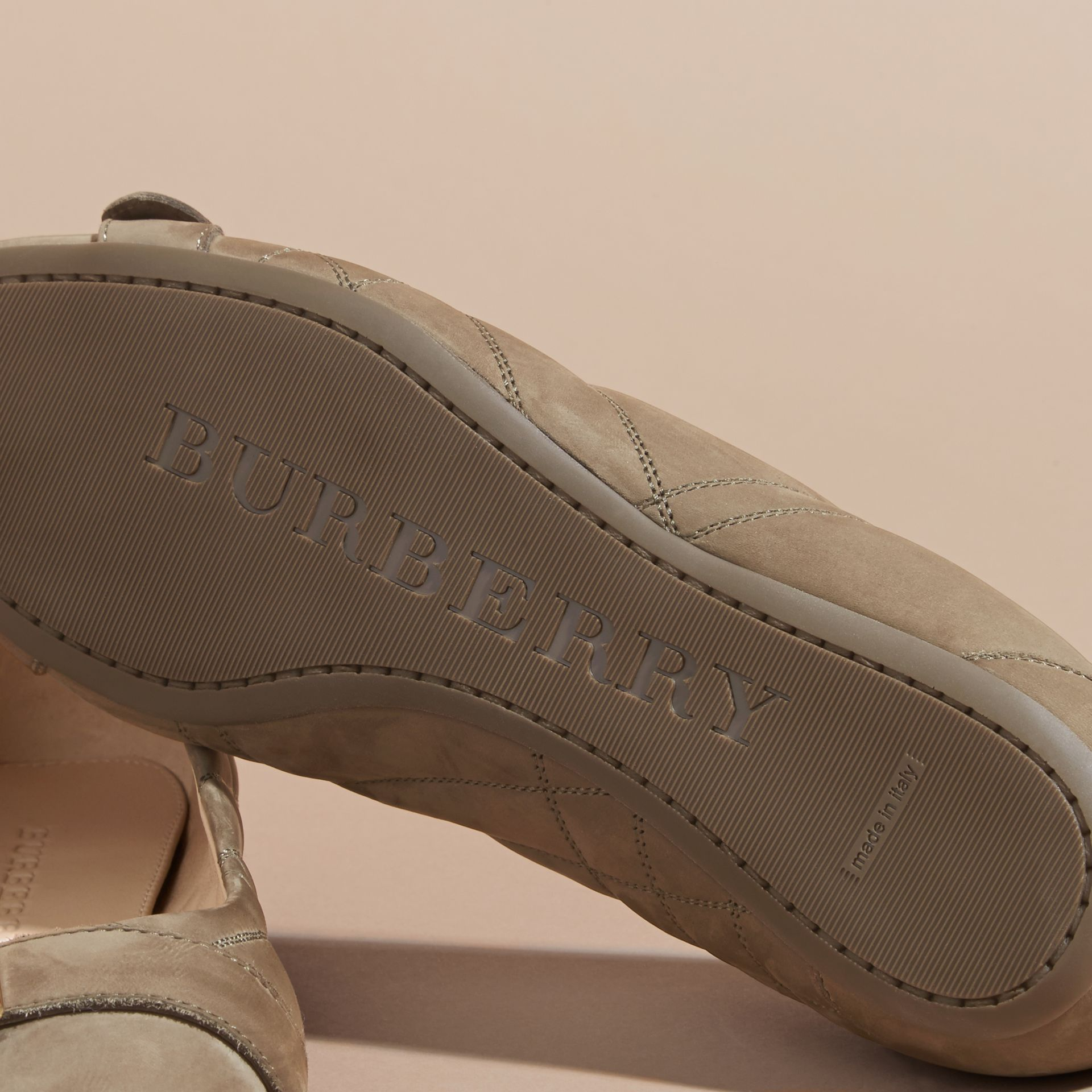 Buckle Detail Quilted Suede Ballerinas in Dark Heather Melange - Women | Burberry - gallery image 5
