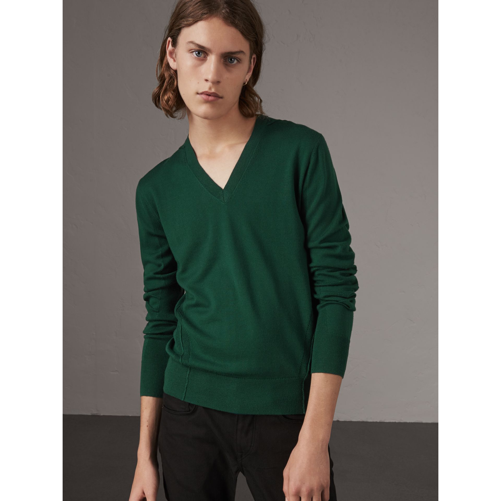 Check Detail Merino Wool V-neck Sweater in Dark Teal - Men | Burberry Singapore - gallery image 1