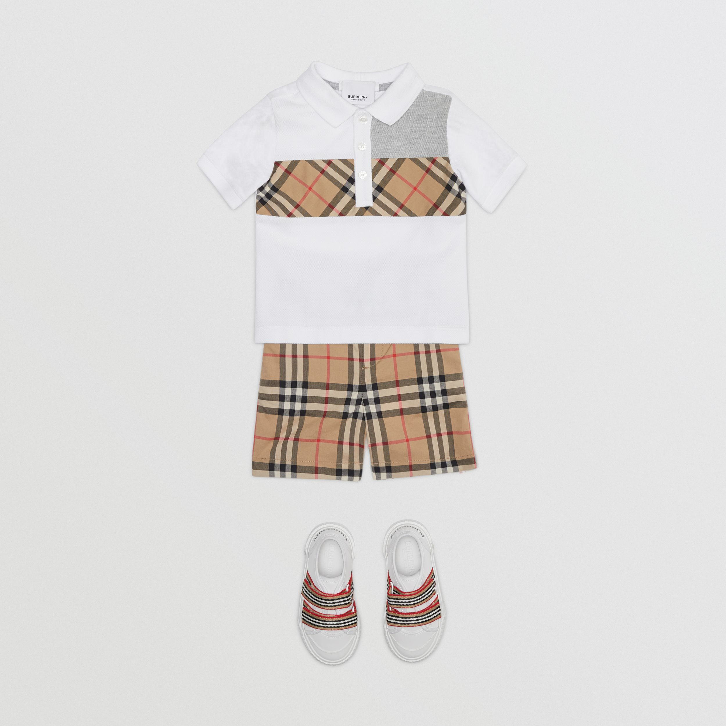 Vintage Check Panel Cotton Polo Shirt in White - Children | Burberry - 3
