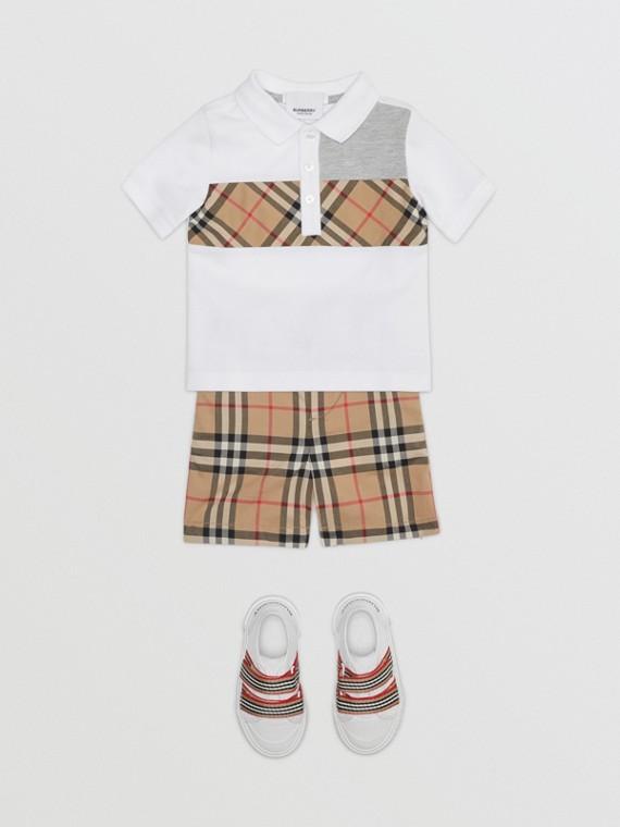 ヴィンテージチェックパネル コットンポロシャツ (ホワイト)