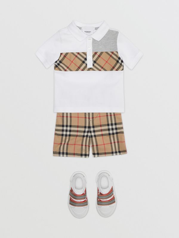Vintage Check Panel Cotton Polo Shirt in White - Children | Burberry - cell image 2