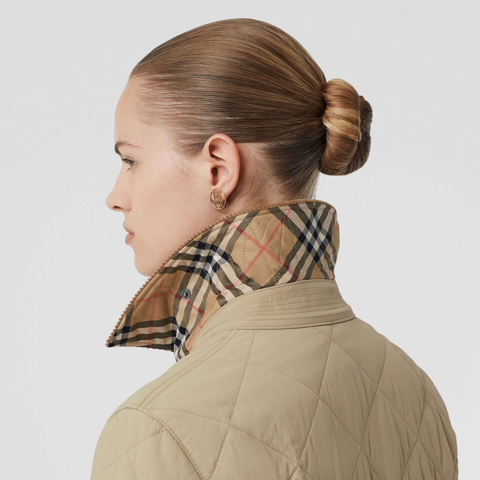 Diamond Quilted Thermoregulated Barn Jacket in Honey - Women | Burberry United Kingdom - gallery image 4