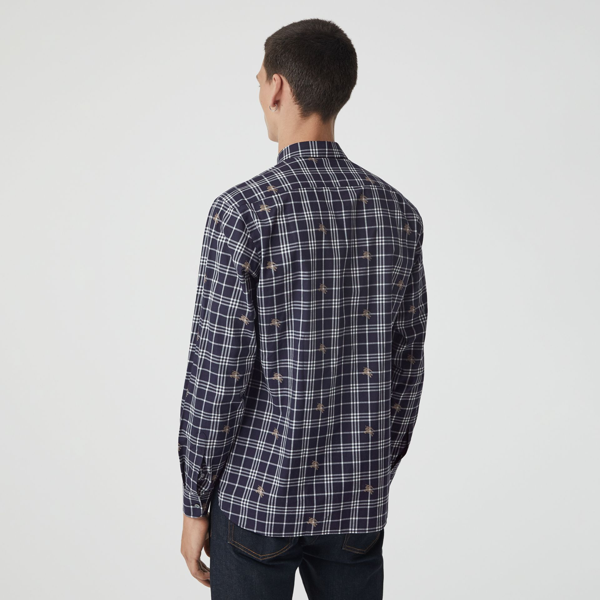 Equestrian Knight Check Cotton Shirt in Navy - Men | Burberry Australia - gallery image 2
