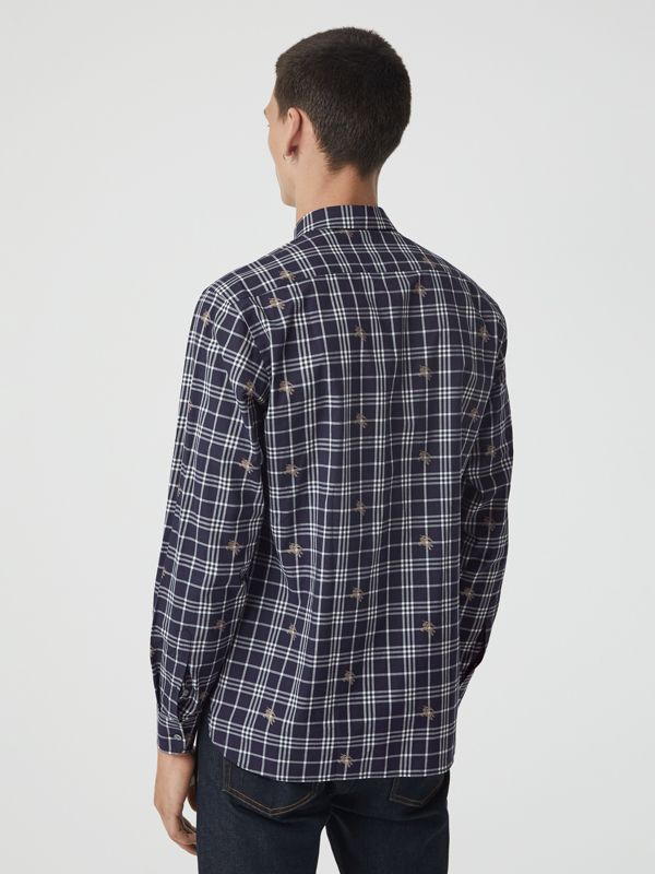 Equestrian Knight Check Cotton Shirt in Navy - Men | Burberry Australia - cell image 2