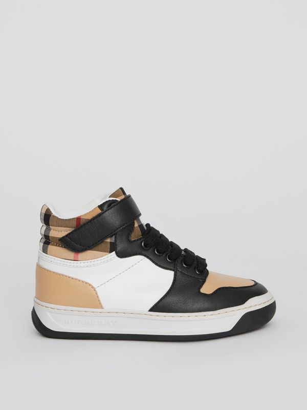 Vintage Check and Leather High-top Sneakers in Antique Yellow - Children | Burberry United Kingdom - cell image 3