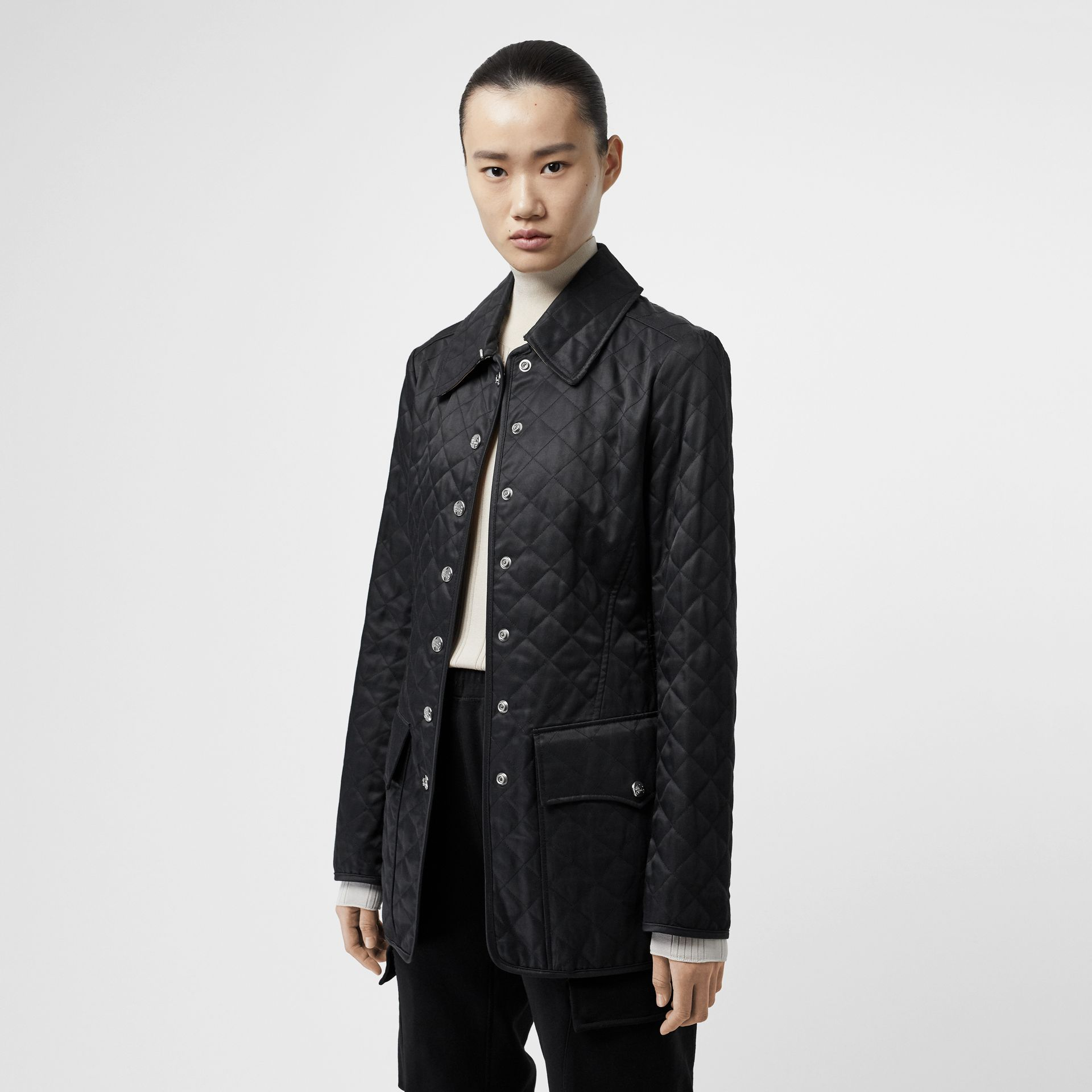 Logo Button Diamond Quilted Jacket in Black - Women | Burberry - gallery image 5