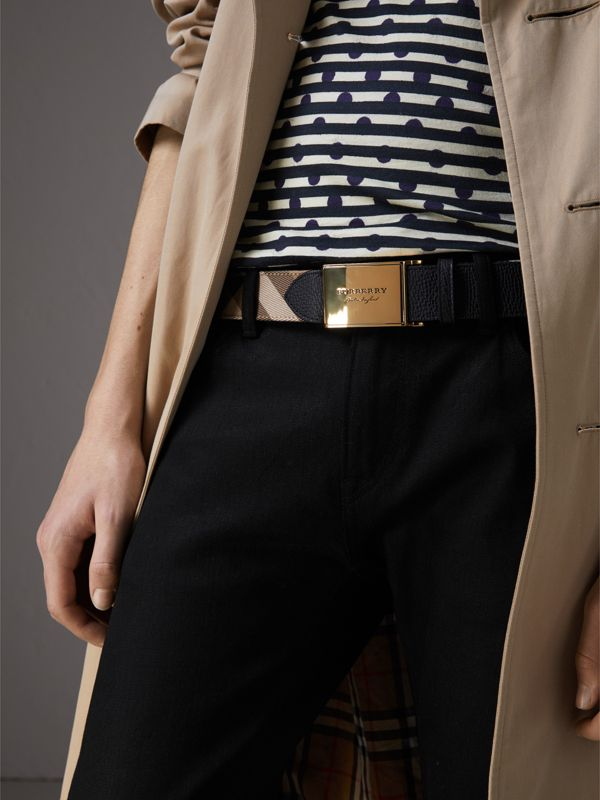 Plaque Buckle House Check and Leather Belt in Black - Men | Burberry Hong Kong - cell image 2
