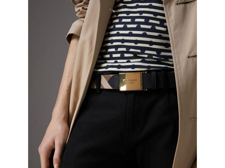 Plaque Buckle House Check and Leather Belt in Black - Men | Burberry - cell image 2