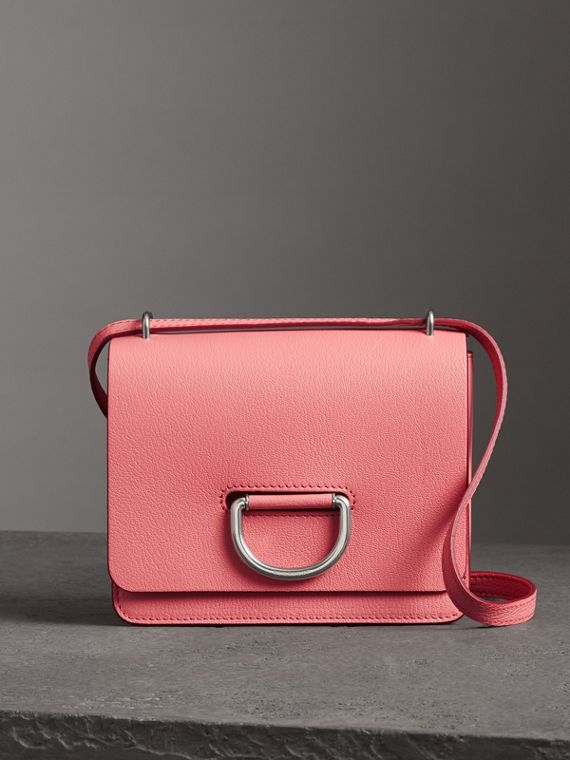 The Small Leather D-ring Bag in Bright Coral Pink