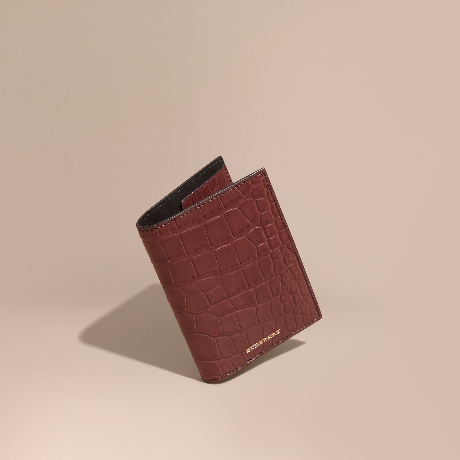 Alligator Passport Holder in Deep Claret | Burberry Australia - gallery image 1