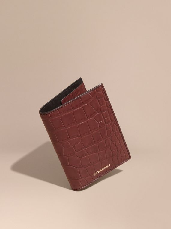 Alligator Passport Holder in Deep Claret