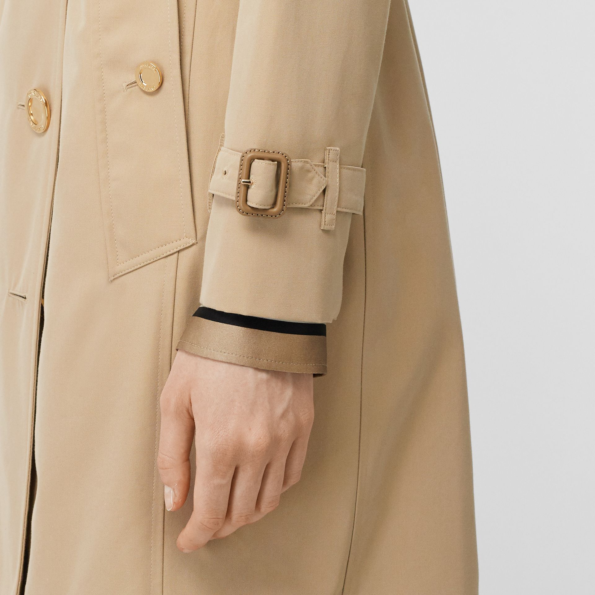 Button Detail Cotton Gabardine Trench Coat in Honey - Women | Burberry - gallery image 5
