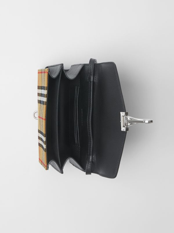 Mini Leather and Vintage Check Crossbody Bag in Black - Women | Burberry - cell image 3