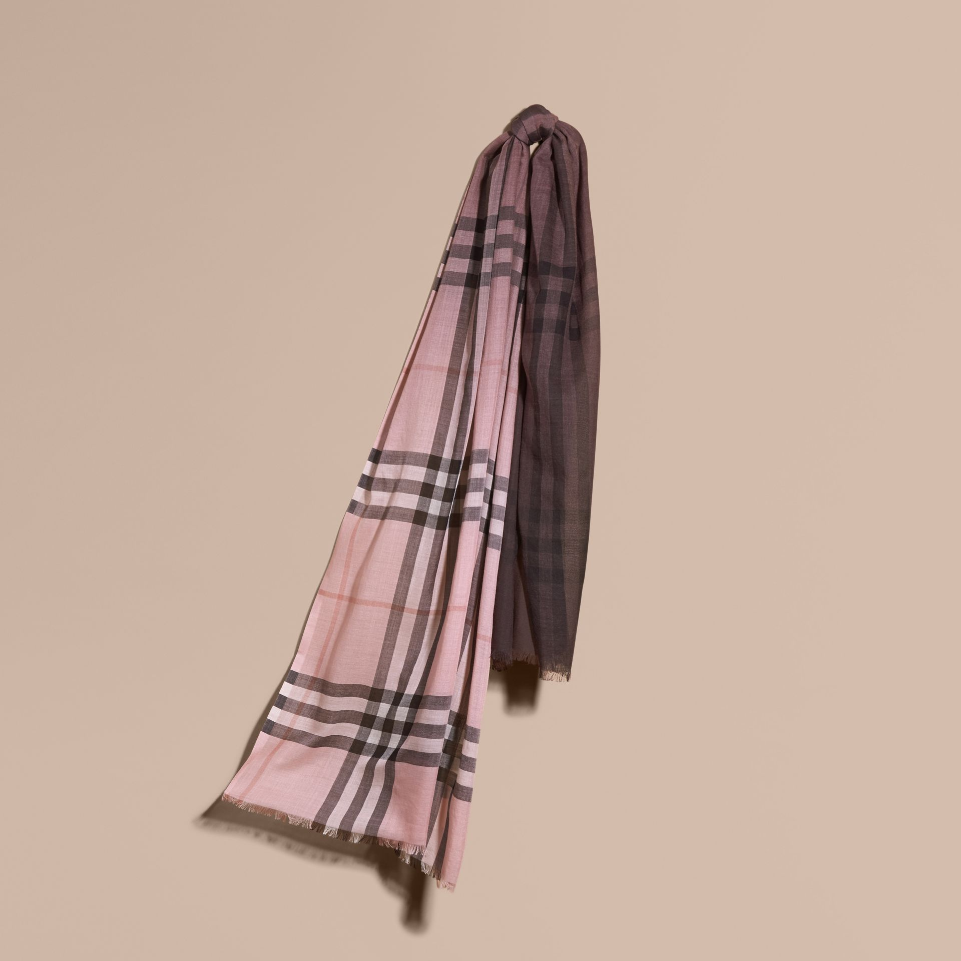 Ash rose Ombré Check Lightweight Wool Silk Scarf Ash Rose - gallery image 1