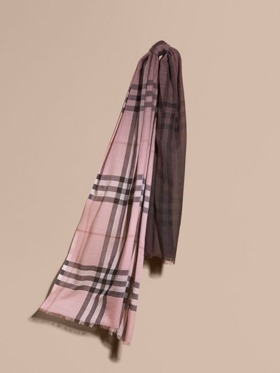 Ombré Check Lightweight Wool Silk Scarf Ash Rose