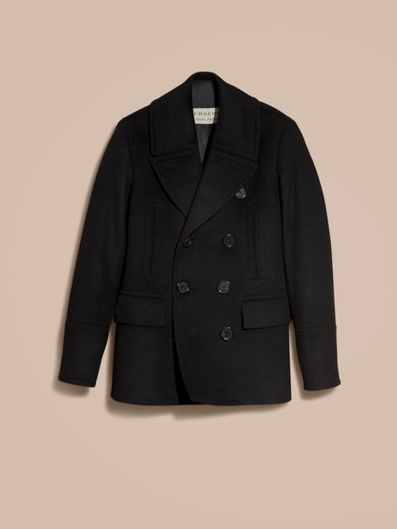 Wool Cashmere Pea Coat in Black - cell image 3