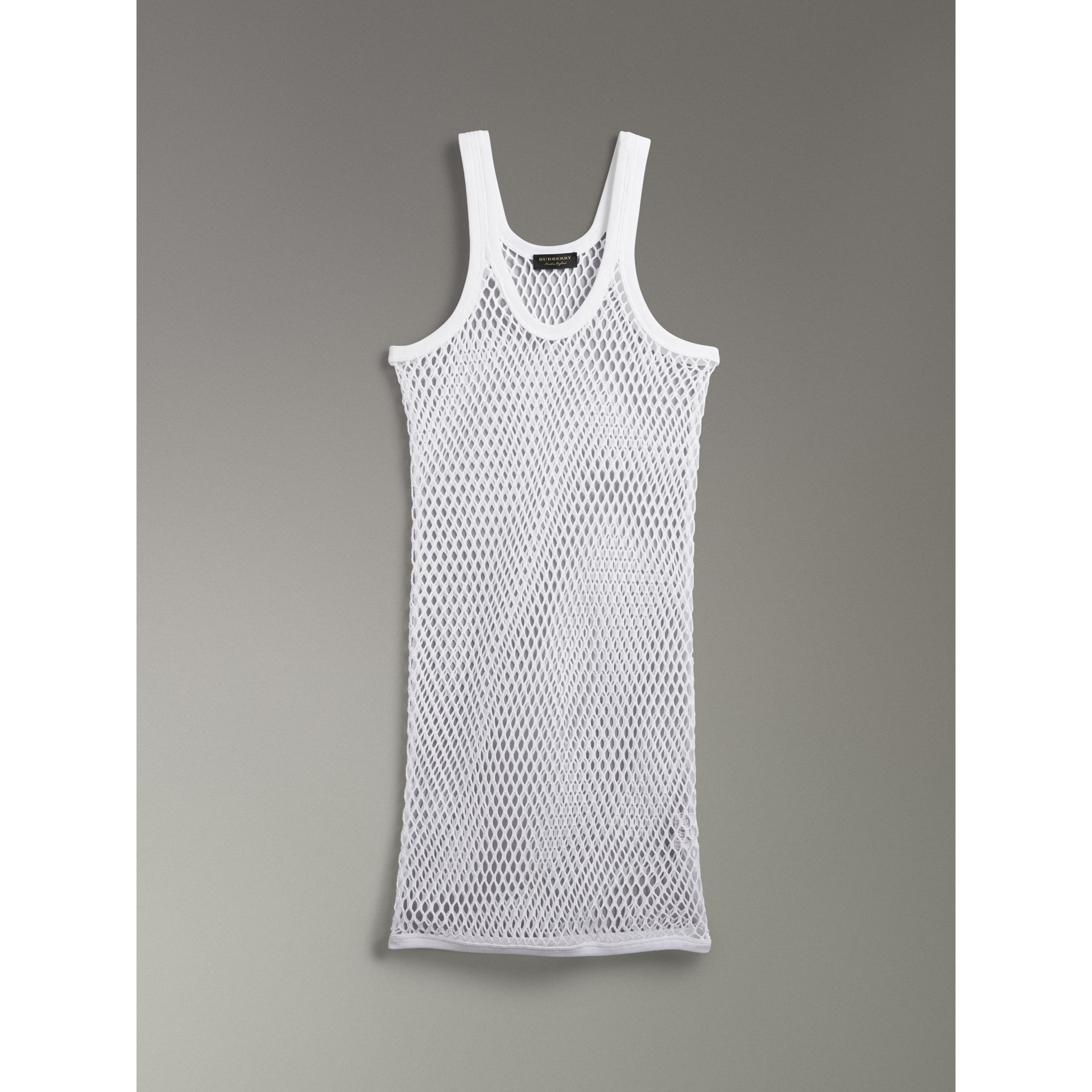 Cotton String Vest in Optic White - Women | Burberry - gallery image 3