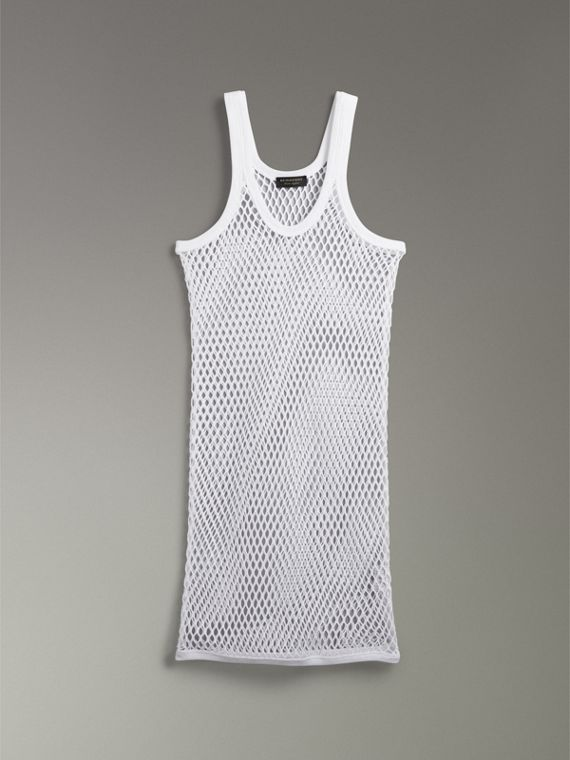 Cotton String Vest in Optic White - Women | Burberry Australia - cell image 3