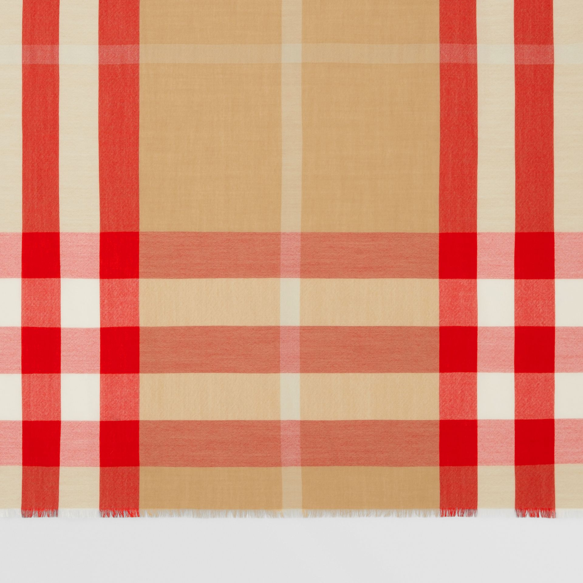 Lightweight Check Cashmere Scarf in Archive Beige/red | Burberry United Kingdom - gallery image 1