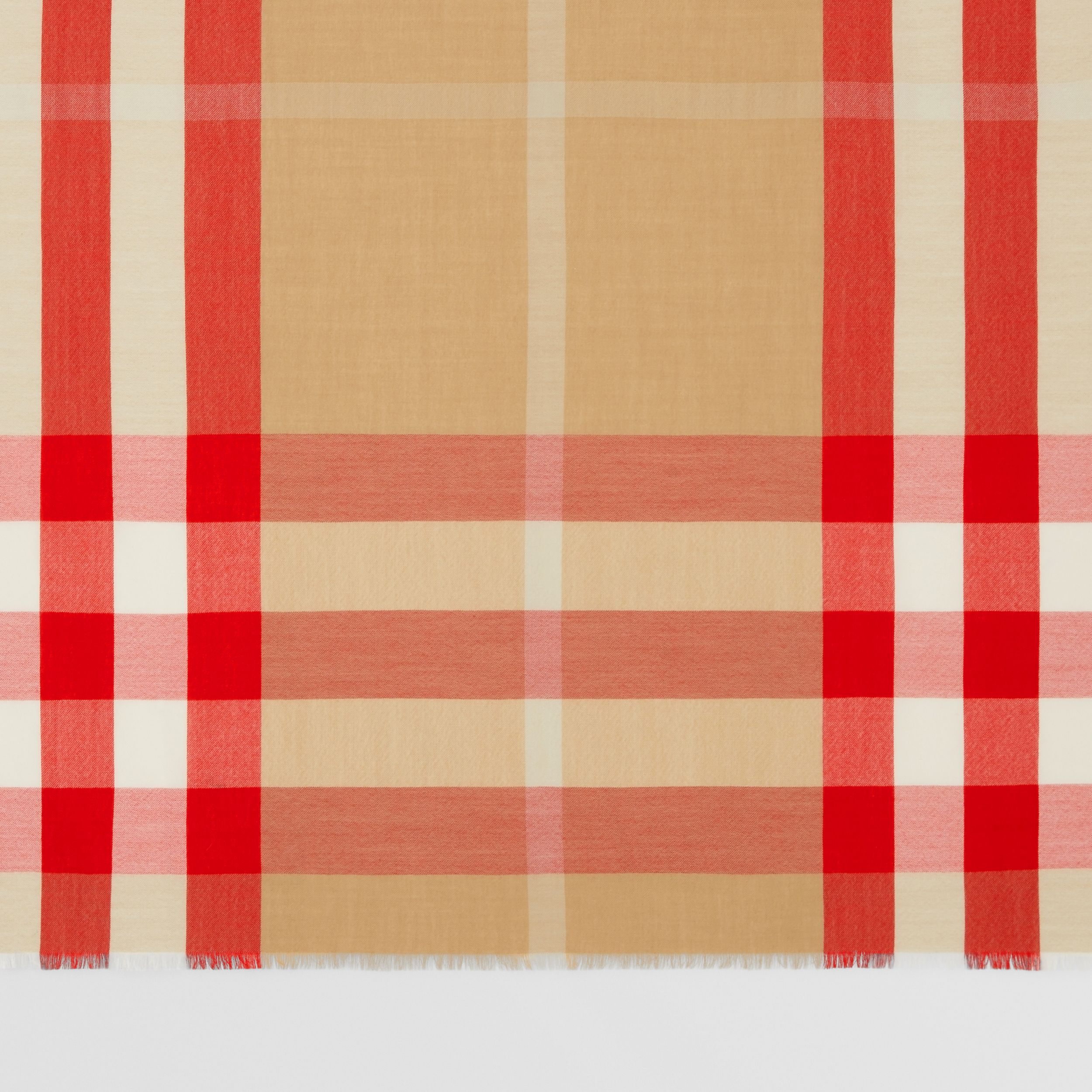 Lightweight Check Cashmere Scarf in Archive Beige/red | Burberry - 2