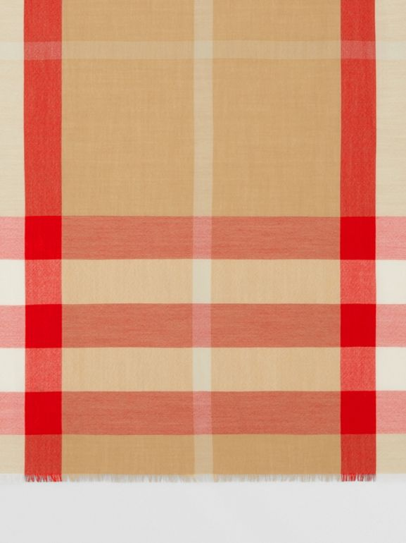 Lightweight Check Cashmere Scarf in Archive Beige/red | Burberry United Kingdom - cell image 1